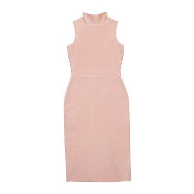 high neck sleeveless dress pink